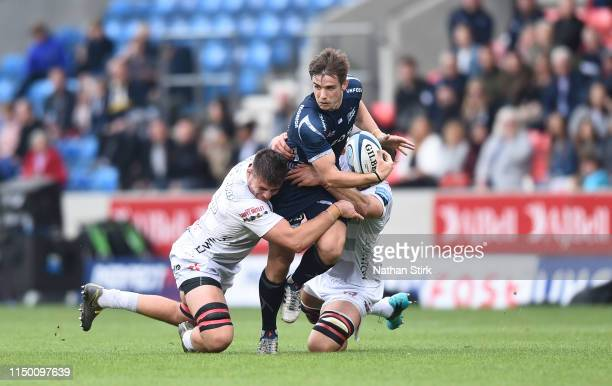 Aj MacGinty of Sale Sharks in action during the Gallagher Premiership Rugby match between Sale Sharks and Gloucester Rugby at AJ Bell Stadium on May...