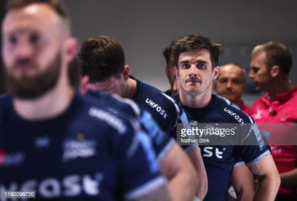Aj MacGinty of Sale Sharks looks on prior to the Gallagher Premiership Rugby match between Sale Sharks and Gloucester Rugby at AJ Bell Stadium on May...