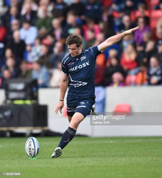 Aj MacGinty of Sale Sharks takes a conversion during the Gallagher Premiership Rugby match between Sale Sharks and Gloucester Rugby at AJ Bell...