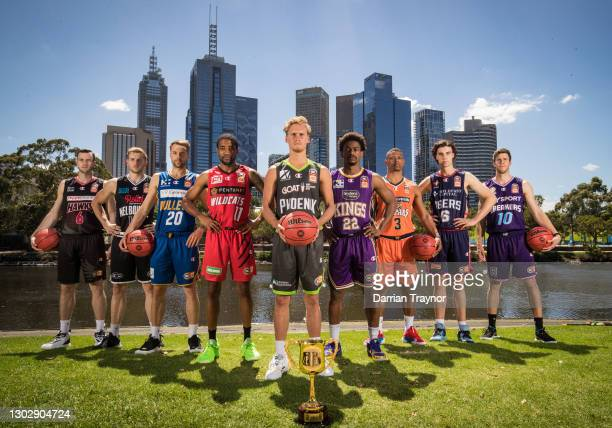 Aj Ogilvy of the Illawarra Hawks, Jack White of Melbourne United, Nathan Sobey of the Brisbane Bullets, Bryce Cotton of the Perth Wildcats, Kyle...