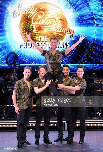 Aj Pritchard Neil Jones Pasha Kovalev Giovanni Pernice and Gorka Marquez attend the Strictly Come Dancing The Professionals photocall at Elstree...