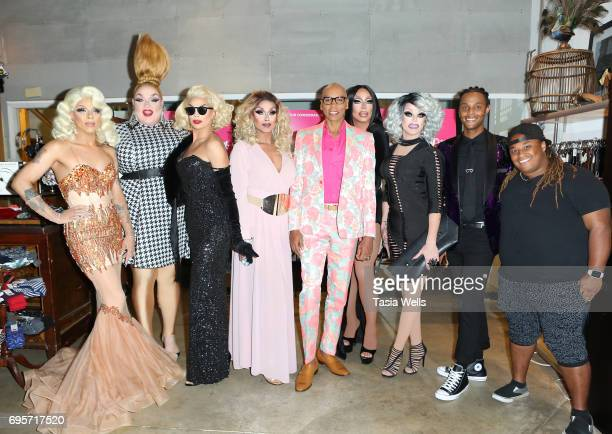 "Aja, Eureka, Valentina, Mariah Balenciaga, RuPaul, Raven, Morgan McMichaels, Tyra Sanchez and Jaidynn Diore Fierce attend ""RuPaul's Drag Race"" FYC..."