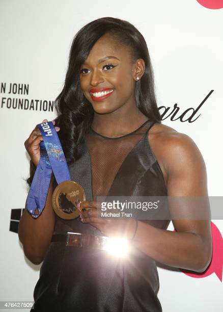 Aja Evans arrives at the 22nd Annual Elton John AIDS Foundation's Oscar viewing party held on March 2 2014 in West Hollywood California