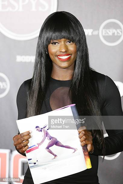 Aja Evans arrives at the BODY at ESPYS PreParty held at Lure on July 15 2014 in Hollywood California