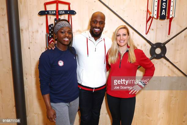 Aja Evans NFL Player Vernon Davis and Jamie GreubelPosner pose for a photo at the USA House at the PyeongChang 2018 Winter Olympic Games on February...