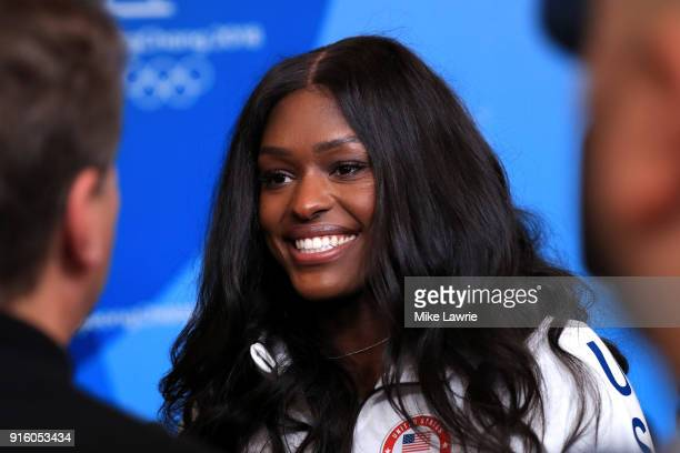 Aja Evans speaks during the United States Women's Bobsleigh Team press conference ahead of the PyeongChang 2018 Winter Olympic Games at the Main...