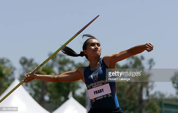 Aja Frary competes in the Heptathlon Women's Javelin Throw at the 2005 USA Outdoor Track and Field Championships on June 26 2005 at the Home Depot...