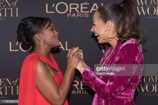 Aja Naomi King and Amanda Brugel attend L'Oreal Women of Worth 2019 on March 8 2019 in Toronto Ontario