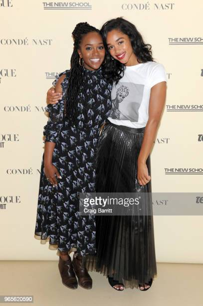 Aja Naomi King and Laura Harrier attend Teen Vogue Summit 2018: #TurnUp - Day 1 at The New School on June 1, 2018 in New York City.