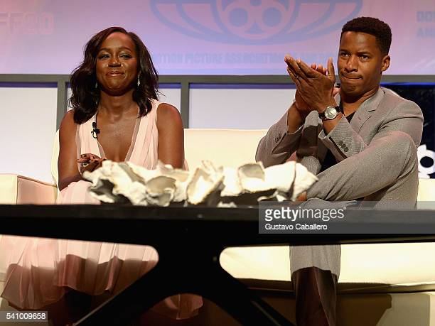 Aja Naomi King and Nate Parker attends The American Black Film Festival first look at 'A Birth Of A Nation' on June 17 2016 in Miami Beach Florida