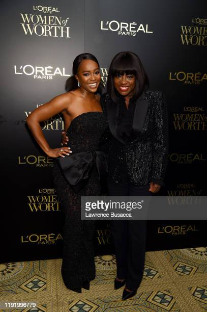 Aja Naomi King and Viola Davis attend the 14th Annual L'Oréal Paris Women Of Worth Awards at The Pierre on December 04 2019 in New York City
