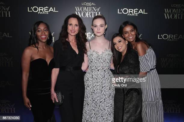 Aja Naomi King Andie MacDowell Elle Fanning Eva Longoria and Liya Kebede attend the L'Oreal Paris Women of Worth Celebration 2017 on December 6 2017...