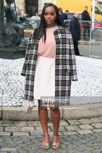 Aja Naomi King arrives at the Miu Miu show as part of the Paris Fashion Week Womenswear Fall/Winter 2017/2018 on March 7 2017 in Paris France