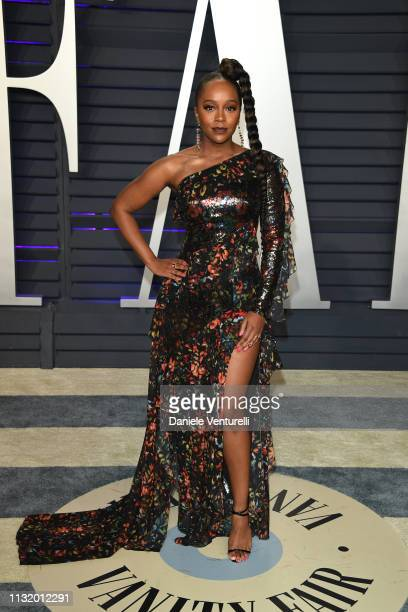 Aja Naomi King attends 2019 Vanity Fair Oscar Party Hosted By Radhika Jones at Wallis Annenberg Center for the Performing Arts on February 24 2019 in...