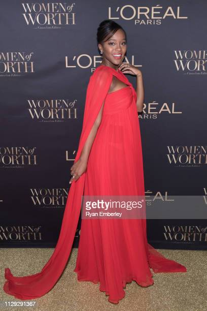 Aja Naomi King attends L'Oreal Women of Worth 2019 on March 8 2019 in Toronto Ontario