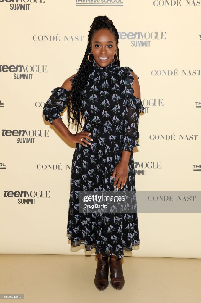 Aja Naomi King attends Teen Vogue Summit 2018: #TurnUp - Day 1 at The New School on June 1, 2018 in New York City.