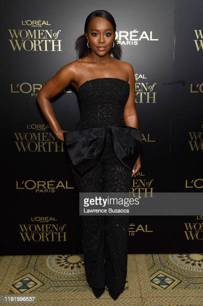 Aja Naomi King attends the 14th Annual L'Oréal Paris Women Of Worth Awards at The Pierre on December 04 2019 in New York City