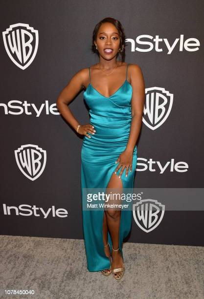 Aja Naomi King attends the 2019 InStyle and Warner Bros 76th Annual Golden Globe Awards PostParty at The Beverly Hilton Hotel on January 6 2019 in...