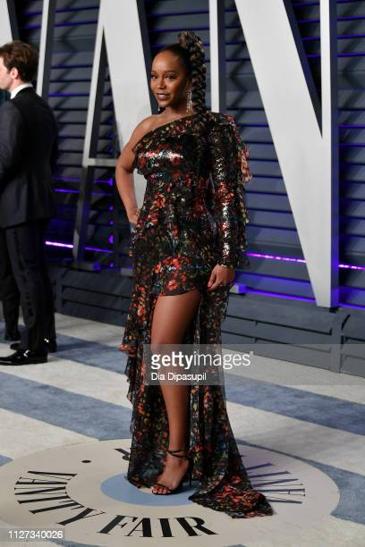 Aja Naomi King attends the 2019 Vanity Fair Oscar Party hosted by Radhika Jones at Wallis Annenberg Center for the Performing Arts on February 24...