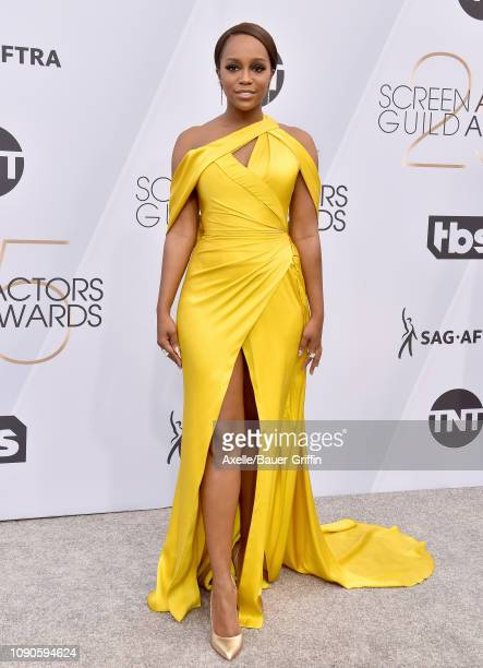 Aja Naomi King attends the 25th Annual Screen Actors Guild Awards at The Shrine Auditorium on January 27 2019 in Los Angeles California