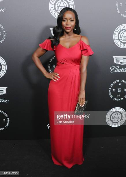 Aja Naomi King attends The Art Of Elysium's 11th Annual Celebration Heaven at Barker Hangar on January 6 2018 in Santa Monica California