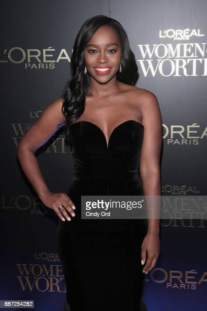 Aja Naomi King attends the L'Oreal Paris Women of Worth Celebration 2017 on December 6 2017 in New York City