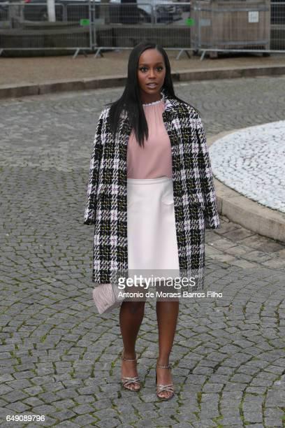 Aja Naomi King attends the Miu Miu show as part of the Paris Fashion Week Womenswear Fall/Winter 2017/2018 on March 7 2017 in Paris France
