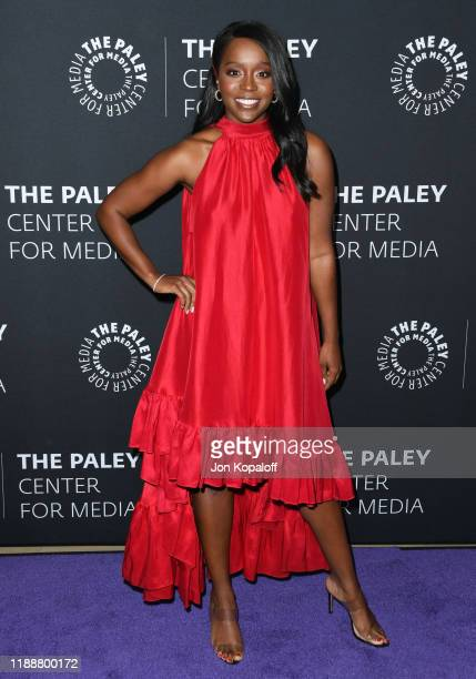Aja Naomi King attends The Paley Center Celebrates The Final Season Of How To Get Away With Murder at The Paley Center for Media on November 19 2019...