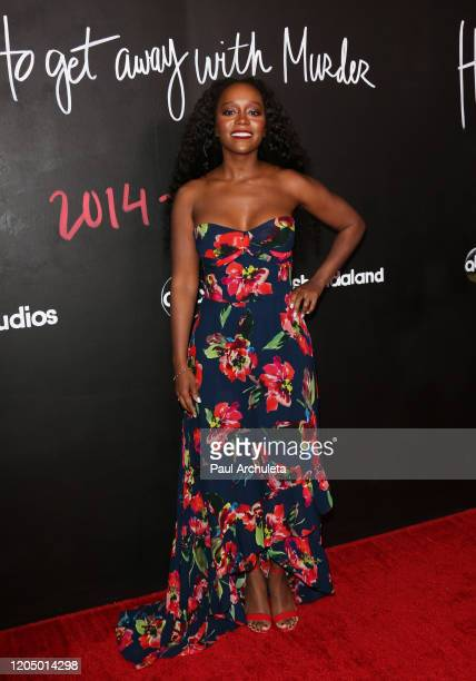 Aja Naomi King attends the premiere of the series finale of ABC's How To Get Away With Murder' at Yamashiro Hollywood on February 08 2020 in Los...