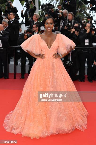 Aja Naomi King attends the screening of A Hidden Life during the 72nd annual Cannes Film Festival on May 19 2019 in Cannes France
