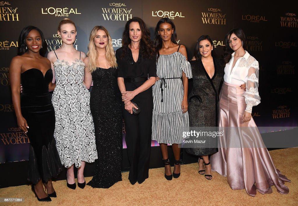 Aja Naomi King, Elle Fanning, Ashley Benson, Andie MacDowell, Liya Kebede, Eva Longoria and Camila Cabello attend L'Oreal Paris Women of Worth Celebration 2017 on December 6, 2017 in New York City.