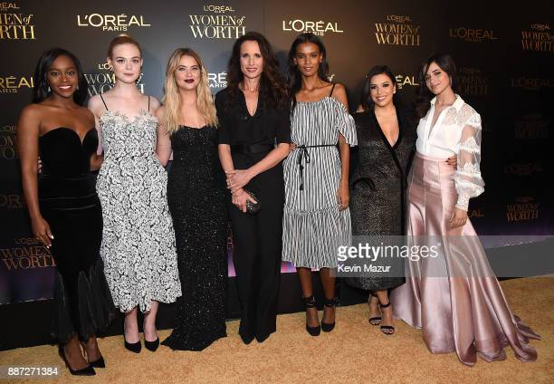 Aja Naomi King Elle Fanning Ashley Benson Andie MacDowell Liya Kebede Eva Longoria and Camila Cabello attend L'Oreal Paris Women of Worth Celebration...
