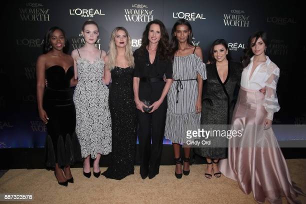 Aja Naomi King Elle Fanning Ashley Benson Andie Macdowell Liya Kebede Eva Longoria and Camila Cabello attend the L'Oreal Paris Women of Worth...
