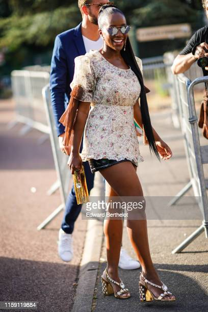 Aja Naomi King is seen outside Miu Miu Club 2020 on June 29 2019 in Paris France