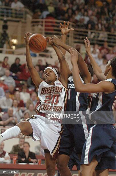 Aja Parham of Boston College during 5148 victory over UCONN in Big East Conference women's basketball game at Conte Forum in Chestnut Hill Mass on...