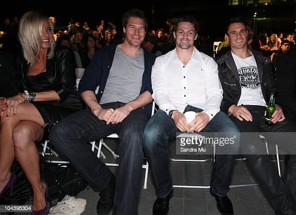 Aja Rock looks on at All Blacks Ali Williams Richie McCaw and Daniel Carter are seen in the front row during the Huffer show as part of New Zealand...