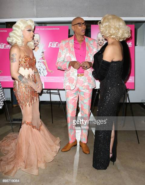 Aja RuPaul and Valentina attend 'RuPaul's Drag Race' FYC Costume Exhibit at LASC on June 12 2017 in West Hollywood California
