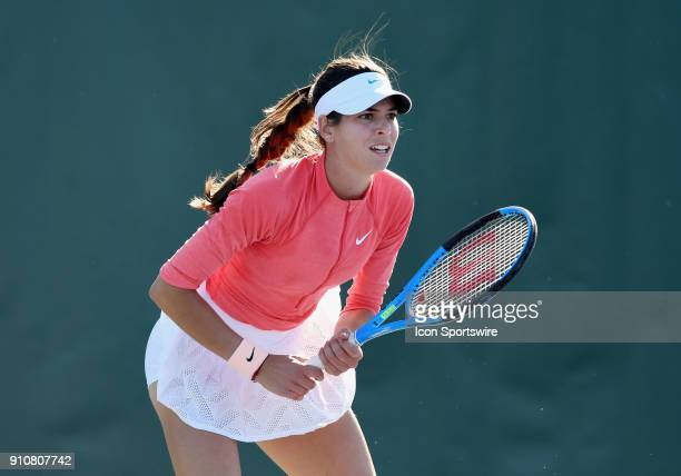 Aja Tomljanovic in action during the second set of a quarterfinal match against Nicole Gibbs during the Oracle Challenger Series played on January 26...