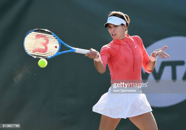 Aja Tomljanovic returns a shot during the third set of a quarterfinal match against Nicole Gibbs during the Oracle Challenger Series played on...
