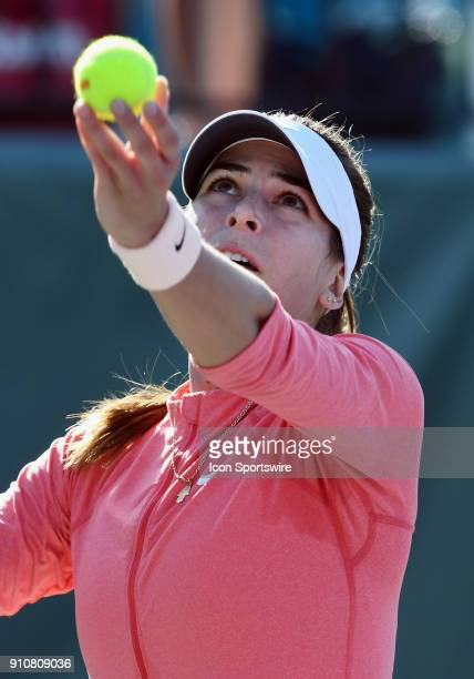 Aja Tomljanovic serving during the second set of a quarterfinal match against Nicole Gibbs during the Oracle Challenger Series played on January 26...