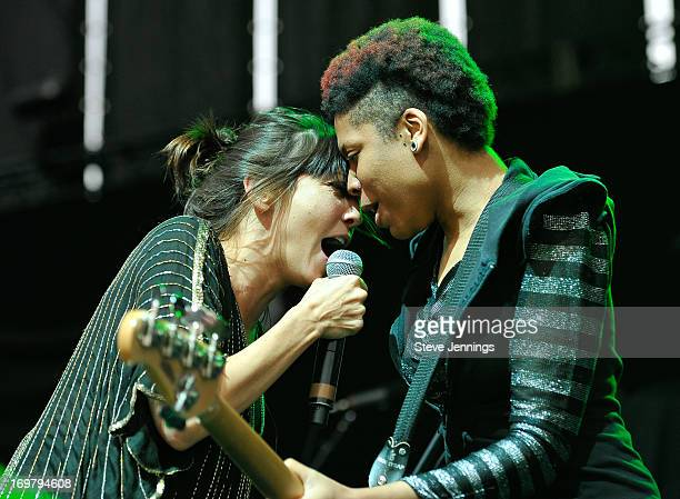 Aja Volkman and Jamila Weaver of Nico Vega perform at America's Cup Pavilion on May 31 2013 in San Francisco California