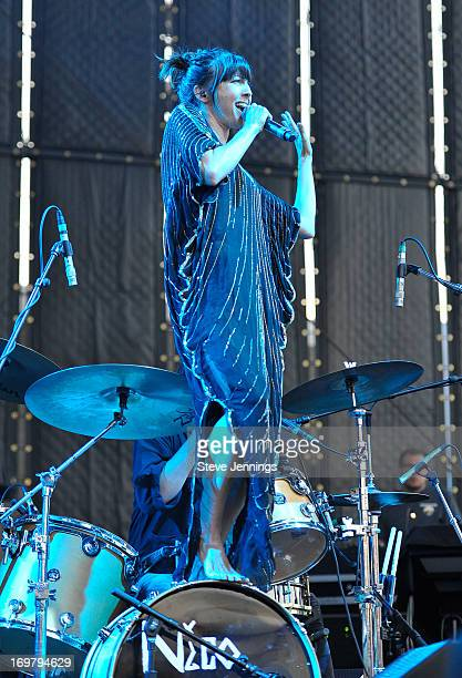 Aja Volkman of Nico Vega performs at America's Cup Pavilion on May 31 2013 in San Francisco California