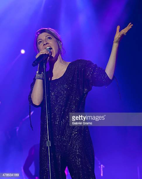 Aja Volkman of Nico Vega performs in concert at Allstate Arena on March 13 2014 in Chicago Illinois