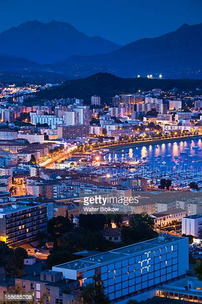 ajaccio, elevated city view from salario road - ajaccio stock photos and pictures