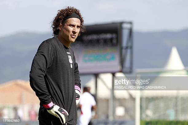 Ajaccio's Mexican goalkeeper Guillermo Ochoa stands before the French L1 football match Ajaccio against Nice on August 25 in the Francois Coty...