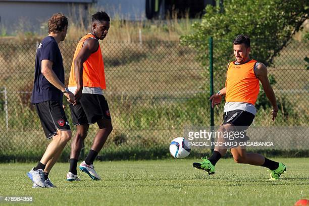 GFC Ajaccio's players take part in a training session on the first day of training in Ajaccio on the French Mediterranean island of Corsica on June...