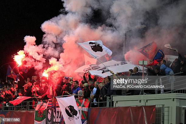 GFC Ajaccio's supporters celebrate after their team won the French L2 football match between GFC Ajaccio and Niort and accessing to the French L1...