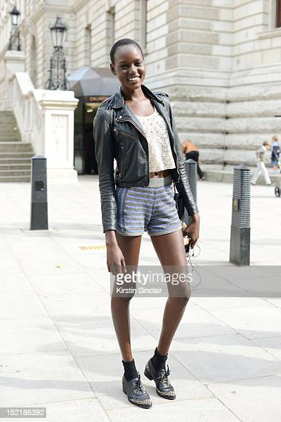 Ajak, model on day 3 of London Fashion Week Spring/Summer 2013, on September 16, 2012 in London, England.