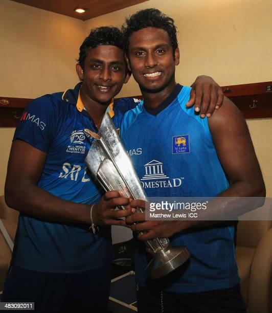 Ajantha Mendis and Angelo Mathews of Sri Lanka celebrate winning the ICC World Twenty20 Bangladesh 2014 Final between India and Sri Lanka at...
