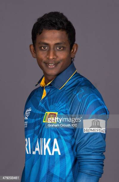 Ajantha Mendis of Sri Lanka at the headshot session at the Pan Pacific Hotel Dhaka in the lead up to the ICC World Twenty20 Bangladesh 2014 on March...